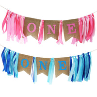 First 1st Birthday Newborn Baby Boys Girls Burlap Highchair Banner Decor YLM9875