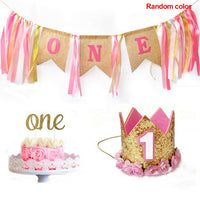 High Chair With Hat Letter Cartoon Girl Boy Colorful Cake Smash Baby 1st Birthday Decoration Burlap DIY Banner Set Happy