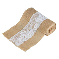1Piece Wedding Burlap Chair Sashes Lace Hessian Jute Burlap Chair Sash Bow for Wedding Party Baby Shower Home Decor 15cm x 240cm