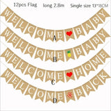 12PCS Birthday Personalize Party Flag Letter Diy Jute Burlap Bunting Banner Flags Candy Bar Wedding Decoration Baby Shower Favor