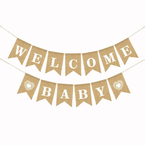 1 Set Alphabet Banner Welcome Baby Ceiling Decoration Photo Props Burlap Swallowtail Flag Decoration Supplies Outdoor Wedding