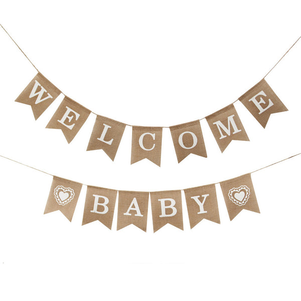 1 Set Burlap Swallowtail Flag Ceiling Decoration WELCOME BABY Alphabet Banner Outdoor Home Wall Hanging Decoration Photo Props