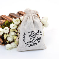 9X14cm Cotton Printing Drawstring Pouch Linen Burlap Gift Bag for Baby Shower Decoration Coffee Bean Jewelry Wrapping Bag 5pcs