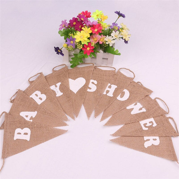 11pcs/set jute rope flax triangular baby show Party Linen Heart Pennant Flag Banner Wedding Home Decor event supplies Burlap