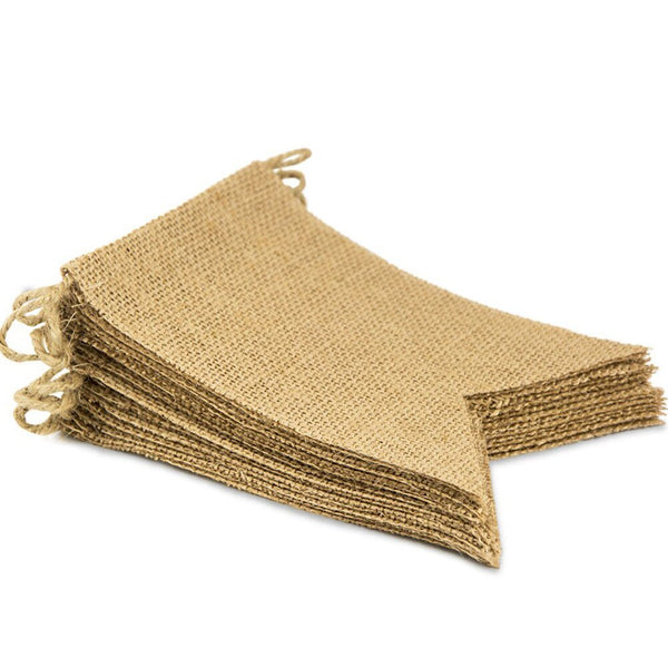 15Pcs Burlap Banner, DIY Decoration for Wedding, Baby Shower Burlap Banner Bunting BannerFlags Wedding Birthday Party Decor 4.3m
