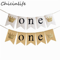 Chicinlife 1Set Jute Burlap First Birthday Banner Boy Girl 1st Birthday Party Decor Chair 1 Year Old Bunting Anniversary Supplie
