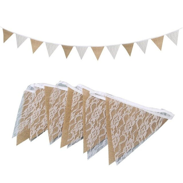 Burlap Pennant Lace Banners for Wedding Party Home Birthday Baby Shower Party Scene Layout Decorative DIY