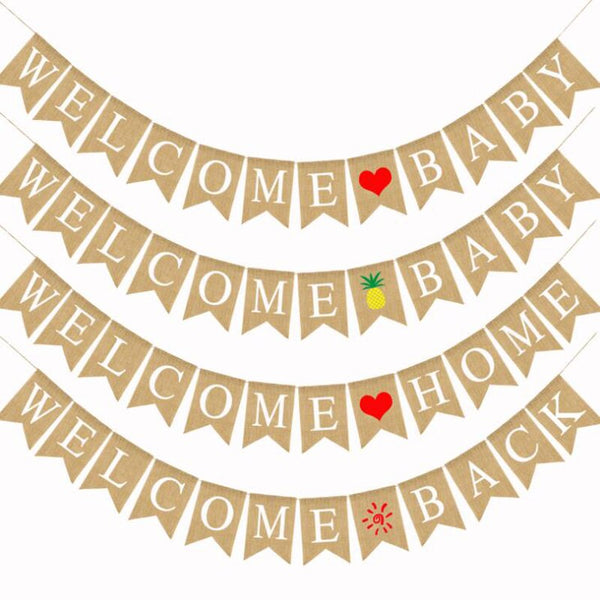 1 Set Letter Welcome Home Baby Back Rustic Burlap Fabric Banners Flags Heart Pineapple Sun Birthday Party Decorations