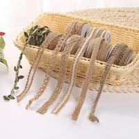 5m Natural Burlap Ribbon Roll Hollow Out Hemp Jute Ribbon for DIY Arts Crafts Hemp Rope Baby Shower Wedding Party Decoration