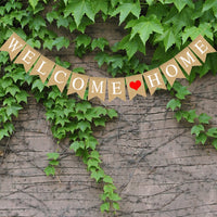 HOT Welcome Home Banner Burlap Sign Party Buntings for Welcome Party Great for Baby Shower, Wedding Home Party Decor