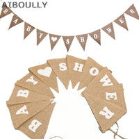 11 Flags Baby shower jute flag Rustic burlap Hessian Bunting Banner Pennant Rustic for Wedding Party decoration Children's Day