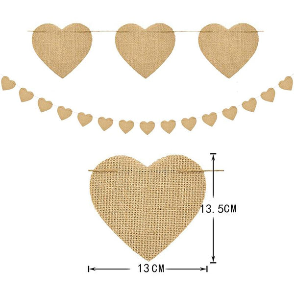 Wedding Party Banner Heart Shaped DIY Hanging Banner Pennant Banner for Wedding Valentine Baby Shower Party Decor
