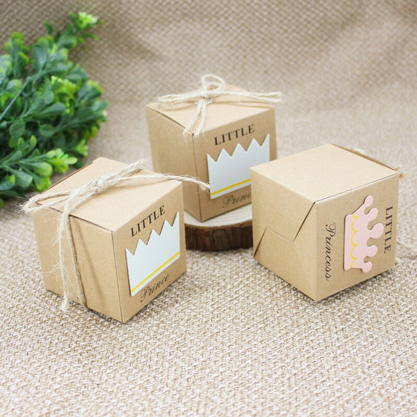 10pcs/lot Prince/Princess Crown Cube Box Kraft Candy Box With Burlap Twine Party Decoration Wedding Favors Baby Shower Gifts