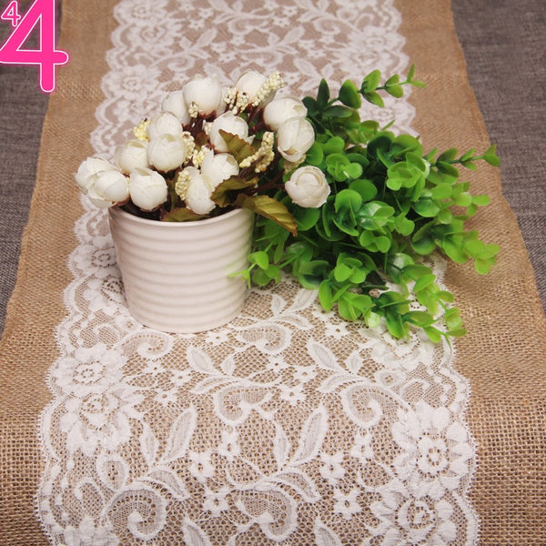 30M x 108cm Burlap and Lace Table Runner Fall Decorations Country Rustic Barn Wedding Decorations, Farmhouse Kitchen Decor, Baby