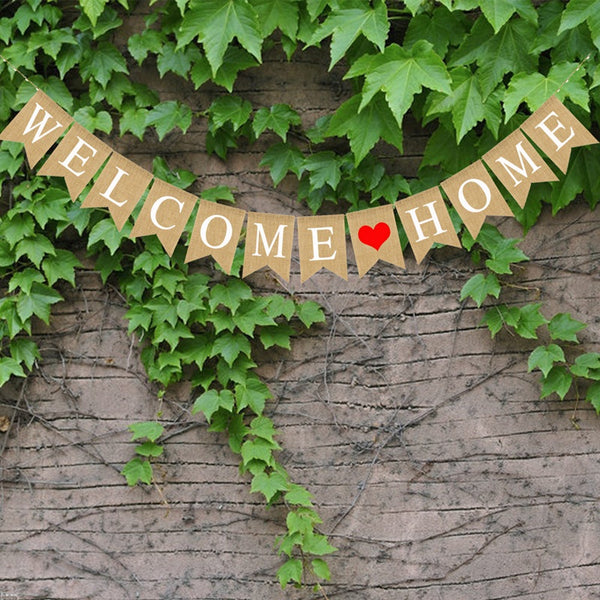 Welcome Home Banner Burlap Sign Party Buntings for Welcome Party Great for Baby Shower, Wedding Home Party Decor