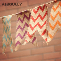 21 Flags Handmade Rustic Burlap Vintage banner Wedding Party Colorful Stripe Banner Garlands Birthday Baby Shower Decoration