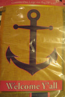 """Welcome Y'all"" Navy Anchor on Burlap -Look, Lake, Summer, decorative HOUSE flag"