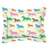 Colorful Horse Equestrian Decor Rainbow Kids Room Pillow Sham by Roostery