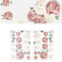 Pink Peony Rose Flower Blossom Wall Stickers Kids Art Nursery Baby Decor G8T6