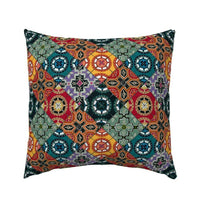 Spanish Tiles Wish Red Green Black Blue Spain Decor Pillow Sham by Roostery