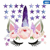 Unicorn Stars Wall Stickers Decals Home Kids Baby Girls Boys Room Decor .New