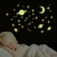 Fluorescent Stars Glow In The Dark Home Decor Luminous Planets Kids Baby