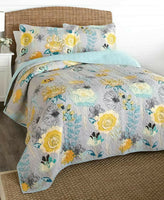 Watercolor Floral Flower Gray Pillow Sham Bedroom Spring Decor 1-Pc
