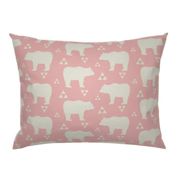 Bears Woodland Nursery Decor Triangles Pink Cream Pillow Sham by Roostery