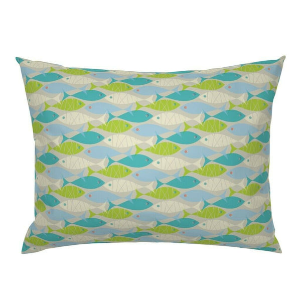 Mod Scandi School Of Fish Summer Firsh Beach Decor Pillow Sham by Roostery