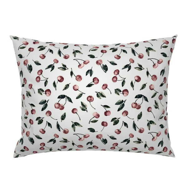Watercolor Cherry Food Fruit Vintage Decor Cherries Pillow Sham by Roostery