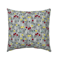 Red And Yellow Floral Mod Scandi Flower Decor Burgundy Pillow Sham by Roostery