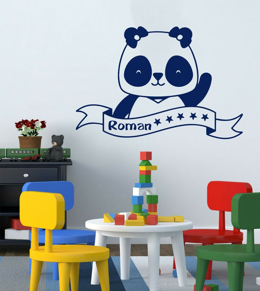 Personalised Children Panda Name Decor Vinyl Wall Door Sticker Decal Bedroom