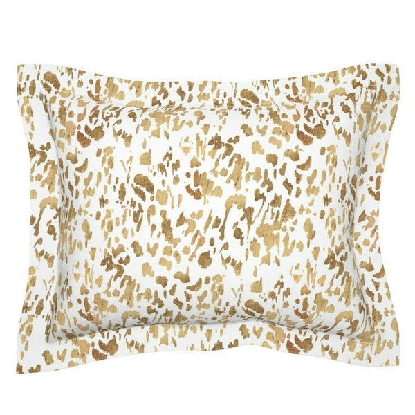 Animal Gold White Modern Decor Leopard Mod Paint Pillow Sham by Roostery