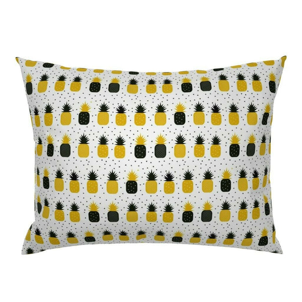 Black + Yellow Pineapples Geometric Beach Decor Summer Pillow Sham by Roostery