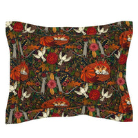 Woodland Fox Fall Autumn Bird Ornate Decorative Birds Pillow Sham by Roostery