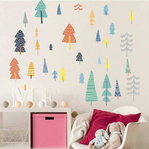 Lovely Nordic Style Tree Woodland Mural Decal Baby Room Decor Wall Sticker