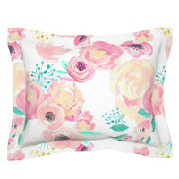 Floral Watercolor Modern Nursery Decor Flowers Rose Pillow Sham by Roostery