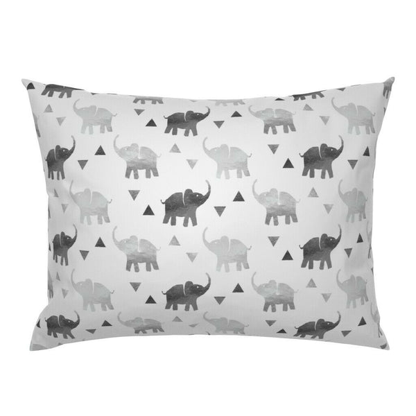 Watercolor Elephants Nursery Decor Triangles Geometric Pillow Sham by Roostery