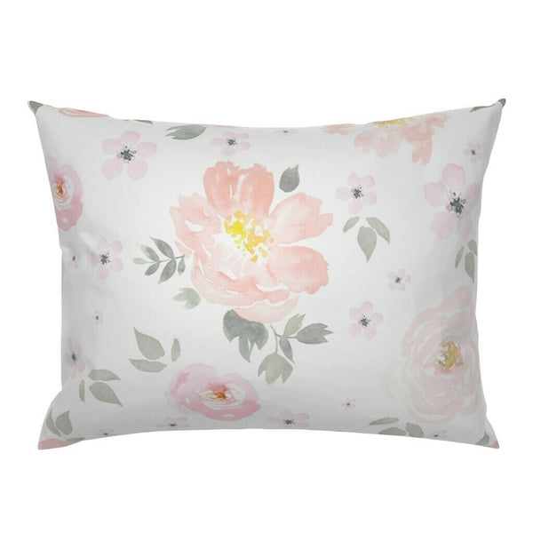Floral Baby Girl Nursery Decor Watercolor Pink Flowers Pillow Sham by Roostery