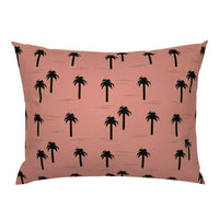 Pink + Black Palm Tree Trees Sunset Beach Decor Pillow Sham by Roostery
