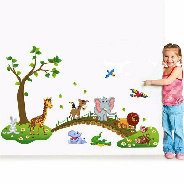 Cartoon Cute Animal Removable Nursery Room Decor Wall Decal Stickers Kids Baby