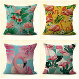 US SELLER, set of 4 living home accents parts flammingo plants cushion covers