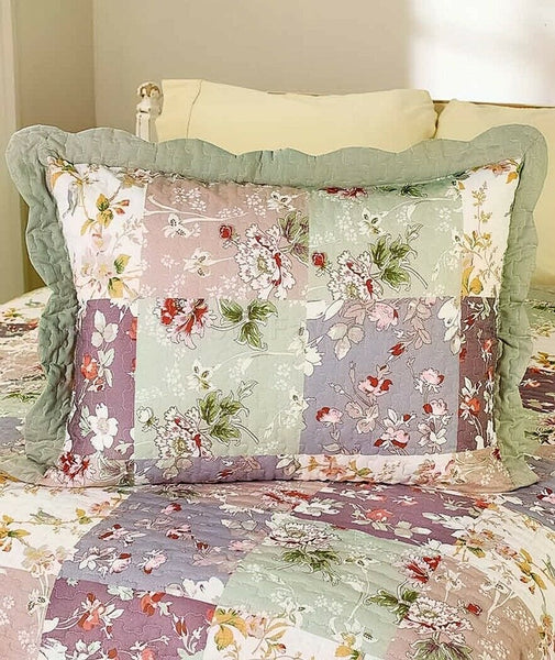 Constance Embroidered Quilt Pillow Sham Floral Print Bedroom Home Decor 1-Pc