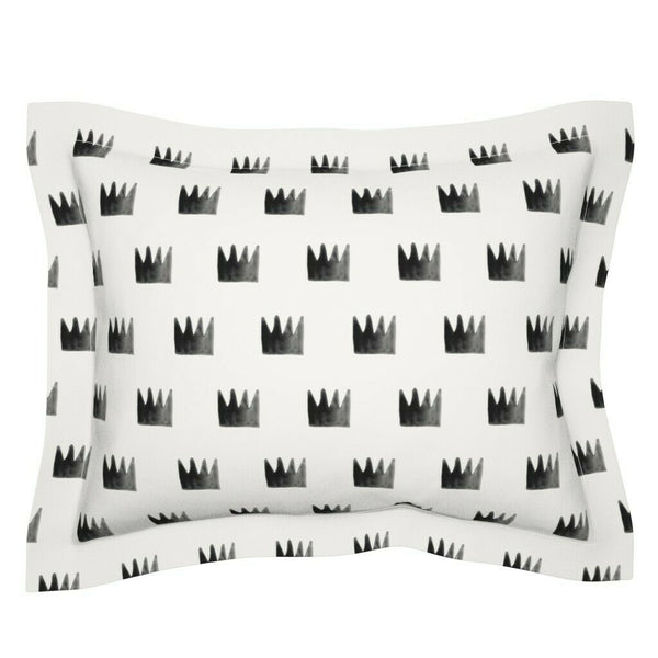 Watercolor Crowns Nursery Hipster Baby Crown Decor Black Pillow Sham by Roostery