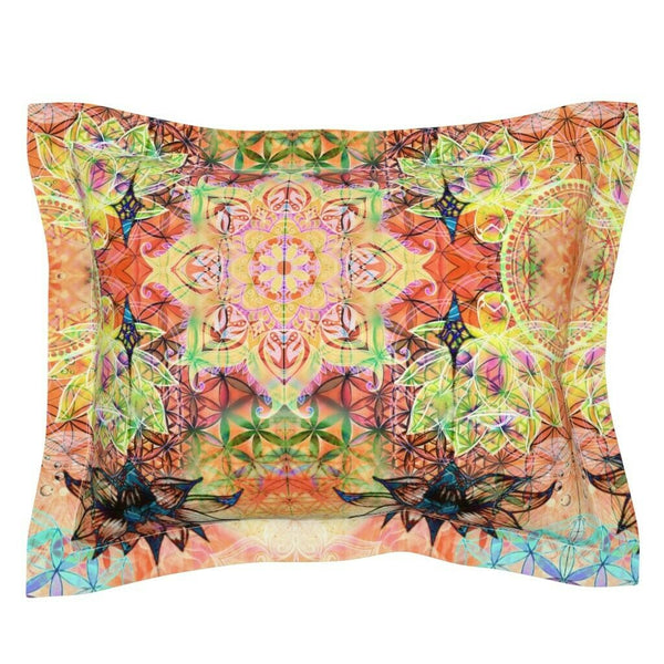 Lotus Flower Abstract Mandala Colorful Decor Blooming Pillow Sham by Roostery