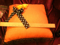 "16"" x 16"" unique decorative pillow-Orange & black lace w/Accent flower-free ship"