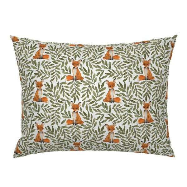 Fox Among Leaves Woodland Watercolor Nursery Decor Plant Pillow Sham by Roostery