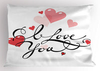 Ambesonne I Love You Pillow Sham Decorative Pillowcase 3 Sizes for Bedroom Decor