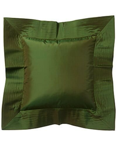 $225 NWT Ann Gish 100% Silk Taffeta Crystal Pleat Decorative Pillow Sham Leaf