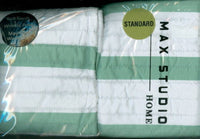 MAX STUDIO Set of TWO Green & White Stripe Decorative PILLOW SHAMS NIP